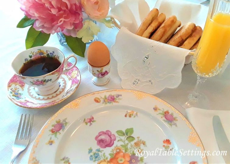 Our breakfast setting has crystal champagne glasses, one-of-a-kind egg cups and a Victorian style...