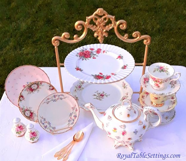 Royal Table Settings Vintage Lunch Plates, Teacups, High Tea Cake Stand and more are all available...