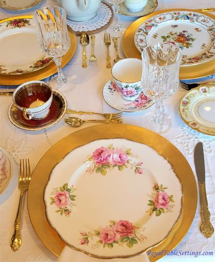 Vintage Dinner Plate, Silverware, vintage teacups, gold charger, and crystal stemware. Go to...