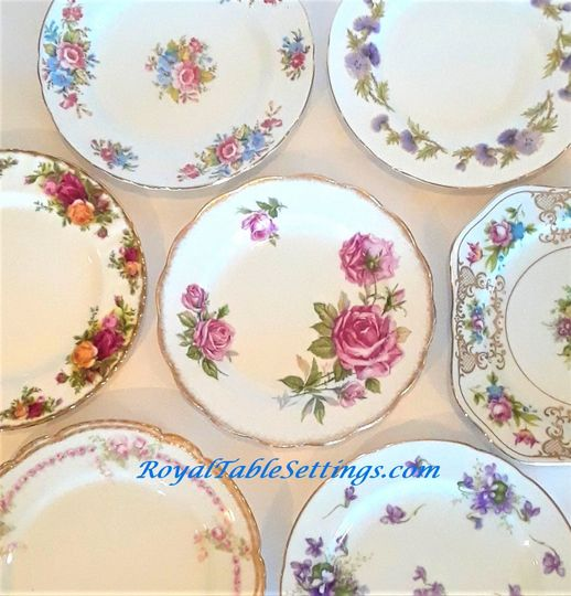 Our mismatched salad plates are adorned with colorful delicate flowers and intricate gold edging....