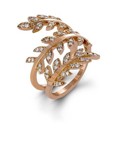 simon g rose gold diamond vine ring