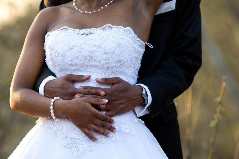 Newlyweds embracing