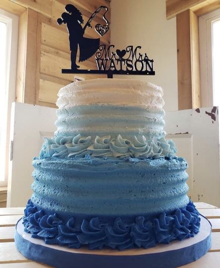 Blue and white icing