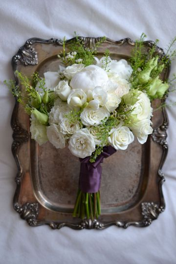 Wedding bouquet on tray