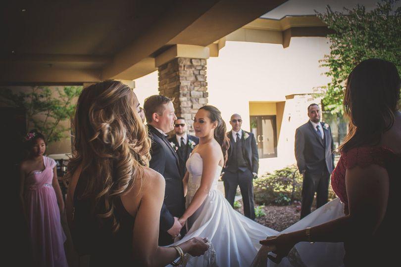 Bride in outdoor courtyard