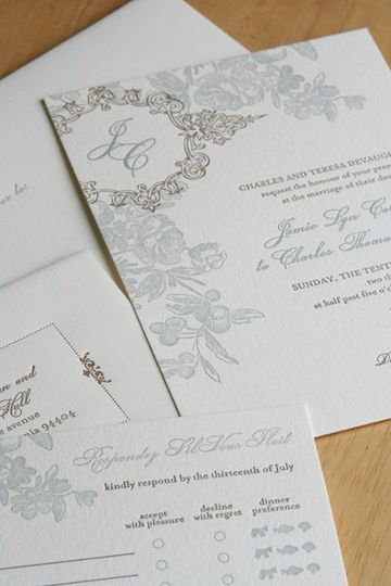 letterpressed french garden invitation set with monogram