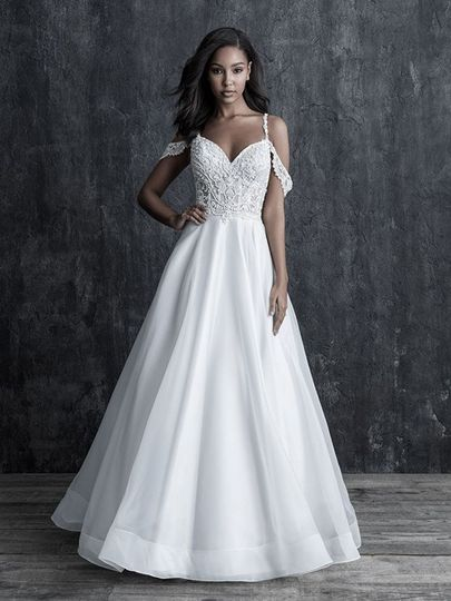 beaded lace spaghetti strap cold shoulder organza ball gown bridal gown 51 124047 157713260647751
