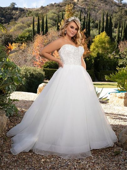 beaded sweetheart strapless bodice organza ball skirt bridal gown 51 124047 157713267627389