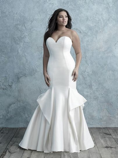 mikado strapless sweetheart fit and flare with pick up skirt bridal gown 51 124047 157713269837768