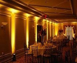 We use LED uplighting fixtures to match your wedding colors.