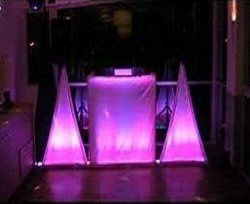 We use speaker and table dressing to enhance the dance floor.