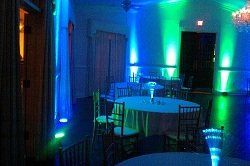 Uplighting fixtures can be used to change the ambiance of your reception.