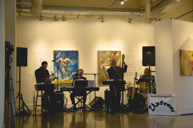 Our 4-piece band setup for a reception in a downtown Portland art gallery.  What a great location....