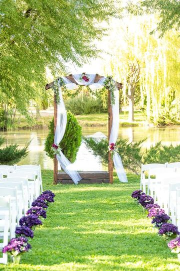 One of two wedding arches