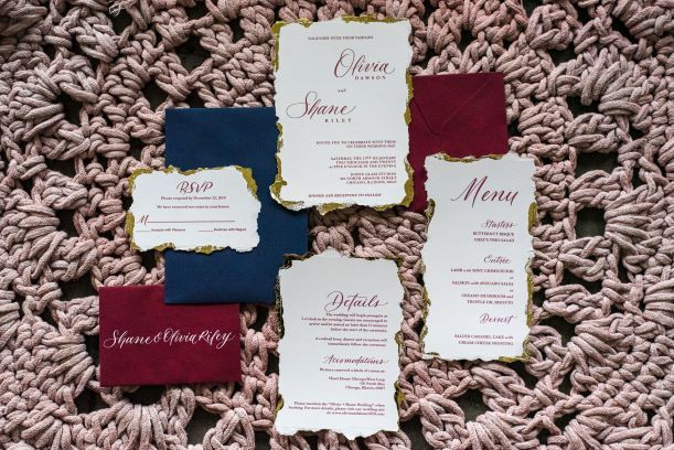 Jewel tone invitation suite