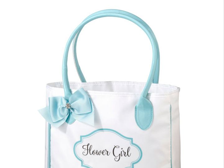Tmx Aqua And White Flower Girl Tote Bag 51 782147 Lynn, MA wedding favor