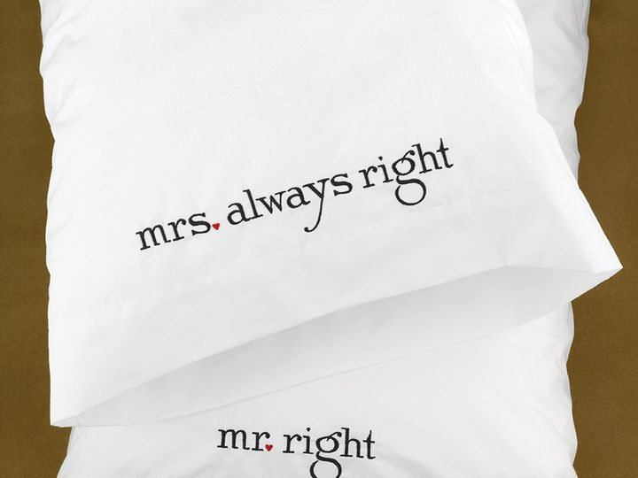 Tmx Mr And Mrs Right Pillowcases 51 782147 Lynn, MA wedding favor