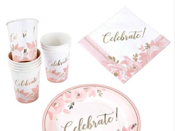 Tmx Pink And Gold Bridal Shower Tableware Set 51 782147 Lynn, MA wedding favor