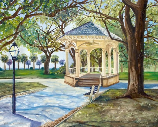 """White Point Gardens"" - Battery in Charleston, SC. This was an oil painting as a surprise gift to a..."