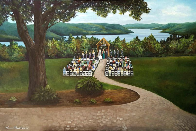 24x36 live wedding painting