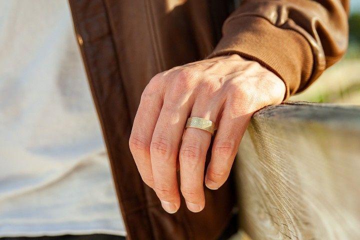 Gold fingerprint ring