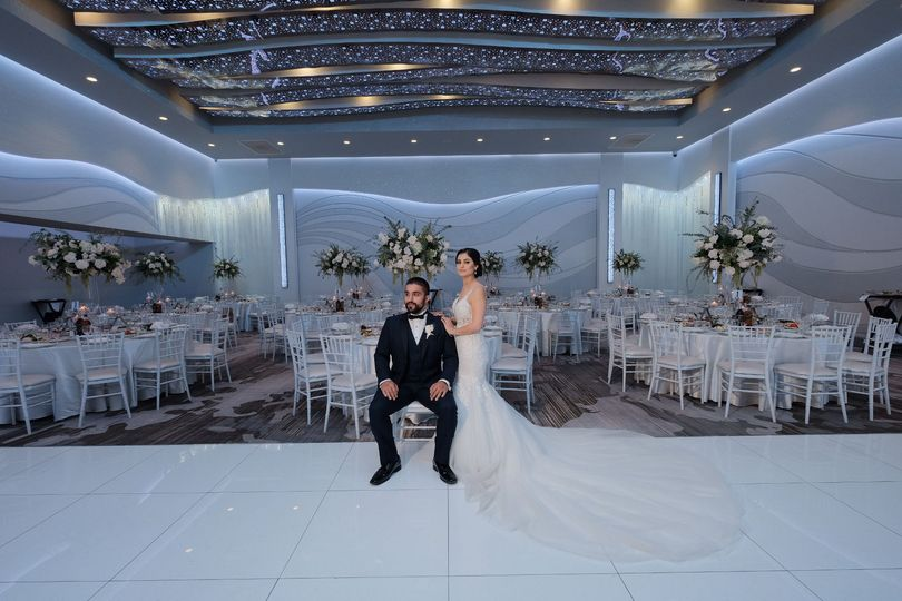 Couple portrait in the ballroom