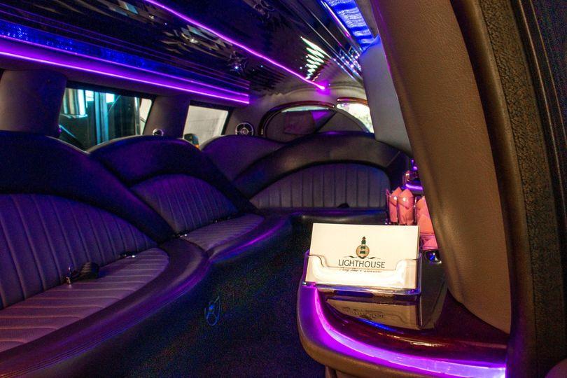 rock harbor 14 passenger stretch suv limo interior w lighthouse logo 51 1067147 1563927313