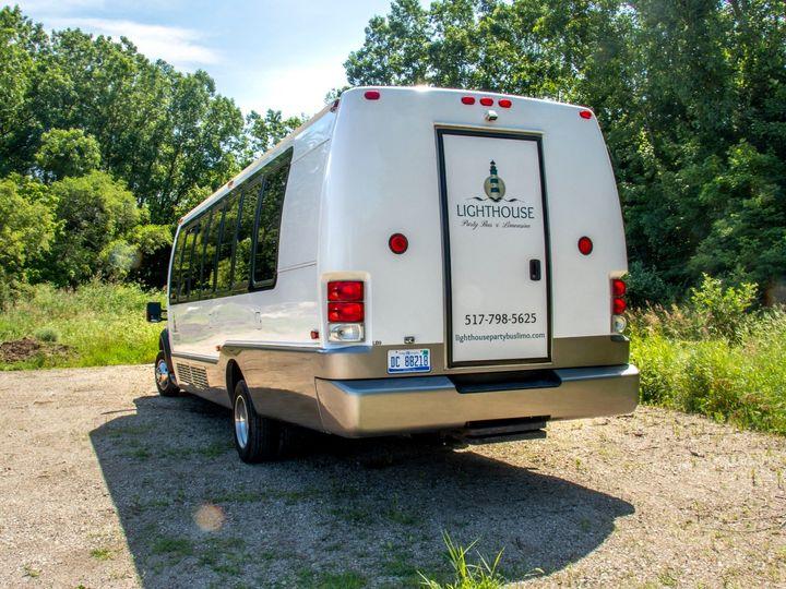 Tmx Isle Royale 22 Passenger Party Bus Rear Driver Side View 51 1067147 1563927289 East Lansing, MI wedding transportation