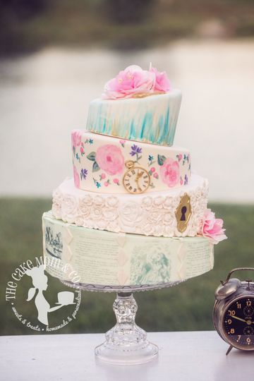 Alice in Wonderland themed wedding cake. Created for 28th of Mae Magazine. Photo by Laura Mae...