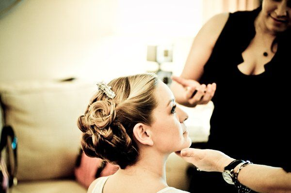 Elegant Bridal Up-do and Make-up by Mimi. Hair color by Mimi as well.