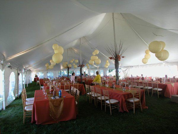 Reception tent decor