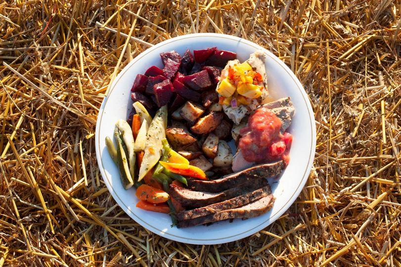 Rustic outdoor dinner