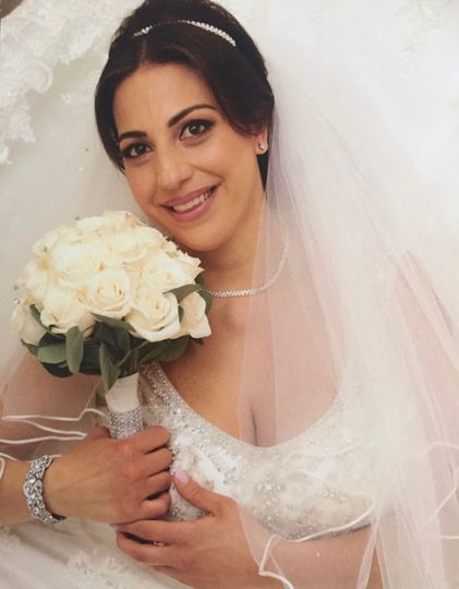 Lovely bride and her bouquet