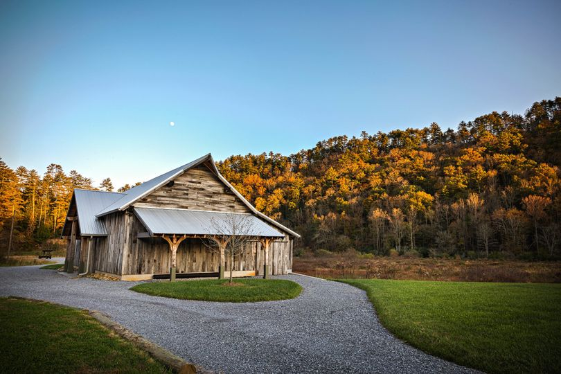 moon over wedding venue barn east tennessee smoky