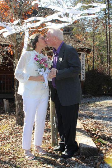 Cabin wedding outdoors