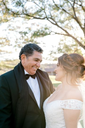 Bride with father in Sedona, A
