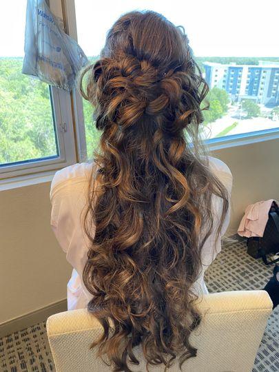 Bridesmaid loose braided updo