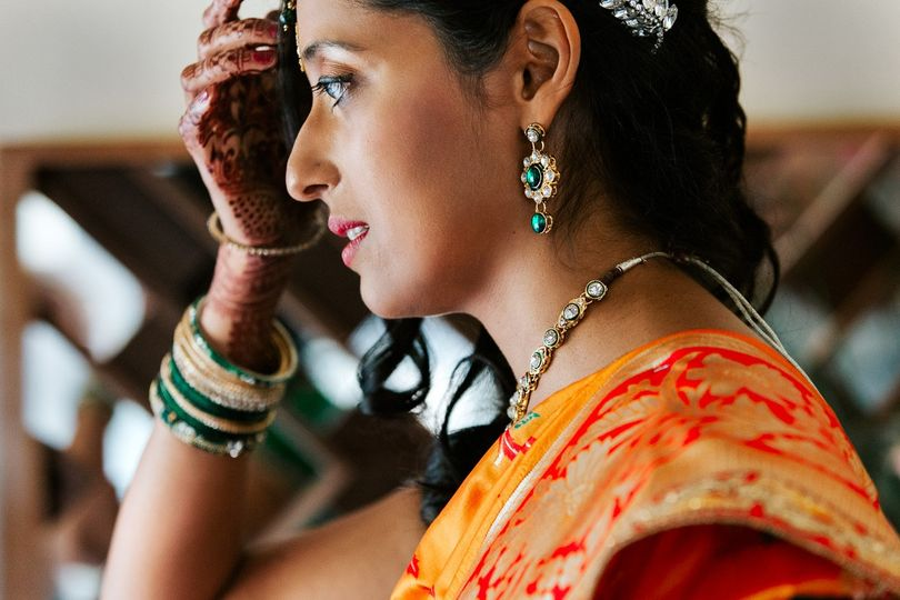 Getting ready of Indian bride