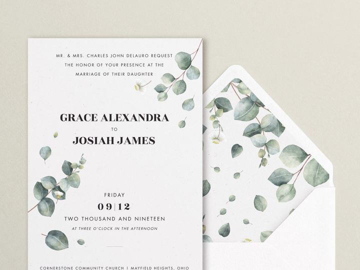 Tmx Gracejosiah Greenbkgrd 51 1924247 158058413739143 Cleveland, OH wedding invitation