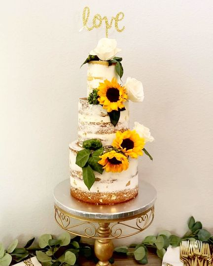 3 Tier Naked Sunflower Wedding
