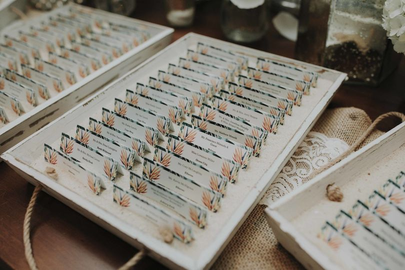 Devin and Tara, day-of details: place cards - 2017 |  Photo courtesy of Lily Szabo Photography,...