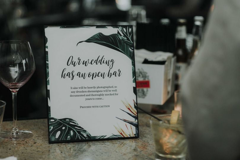 Devin and Tara, day-of details: bar sign - 2017    Photo courtesy of Lily Szabo Photography, she's...