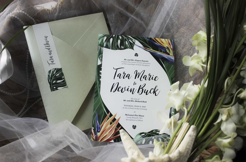 Devin and Tara, full wedding invitation suite - 2017