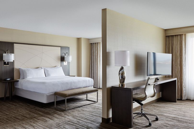 Our executive studio suites offer a separate seating are and sleeping space, with two televisions...