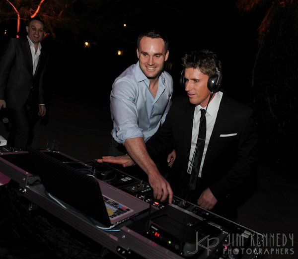 Showing the groom how to work the decks!