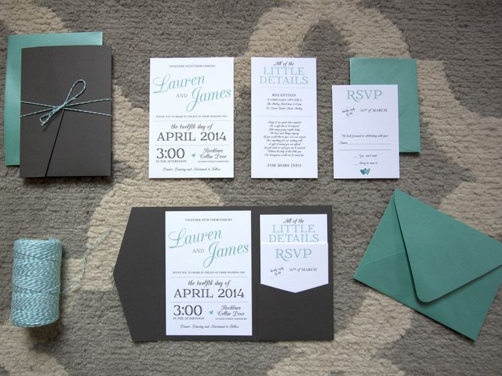 Tmx 1402945788056 Pockettealgray Waterville wedding invitation