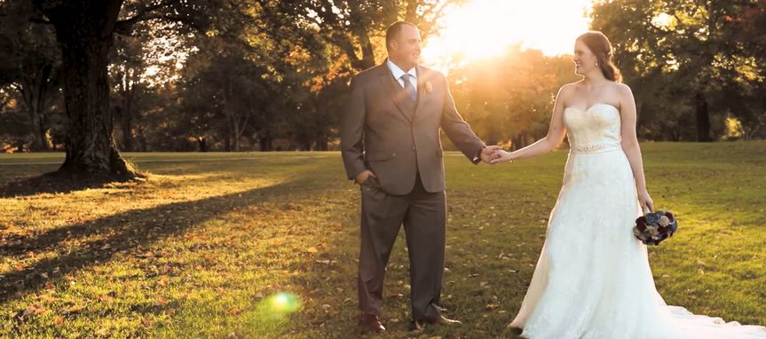 Sunlight lights up the couple