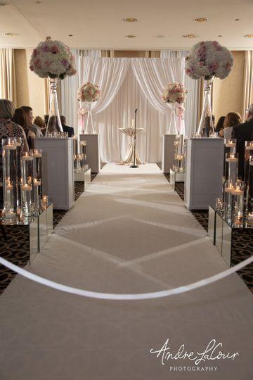 Wedding ceremony area setup