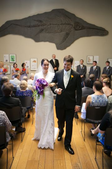 Wedding couple after their ceremony in the Burke Room