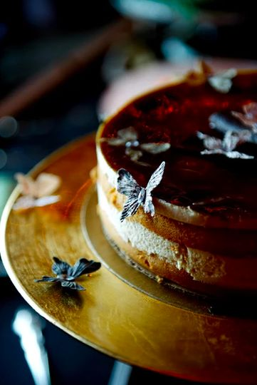 A delicious chocolate wedding cake